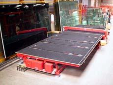 VSG-Zuschnitt-Anlage mit 6 Glasfächern CNC gesteuerten Anschlägen samt Brechbildanzeige