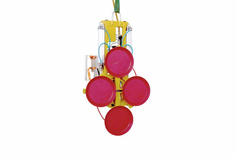 The 500 kg version of vacuum lifting device 7025-MD2-4 with four 488-K suction cups and two short extensions.