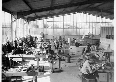 Die Produktionsstätte von Karl Pannkoke im Händelweg um 1959 herum