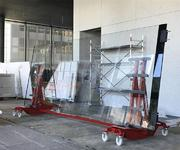 The Super Heavy Duty Roller is being used to move a pane of glass measuring 7 metres in length around on the construction site.