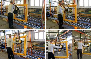 So wird der Vakuumheber 7005-BF-2013 bei der Firma Hilzinger GmbH in Hennigsdorf / Deutschland eingesetzt.