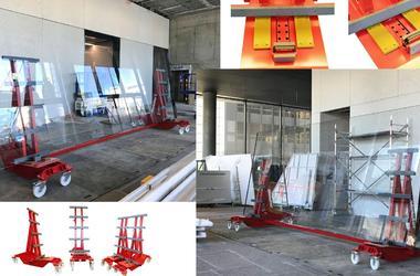 Mit dem Super Heavy Duty Roller wird eine 7 m lange Glasscheibe auf der Baustelle bewegt.
